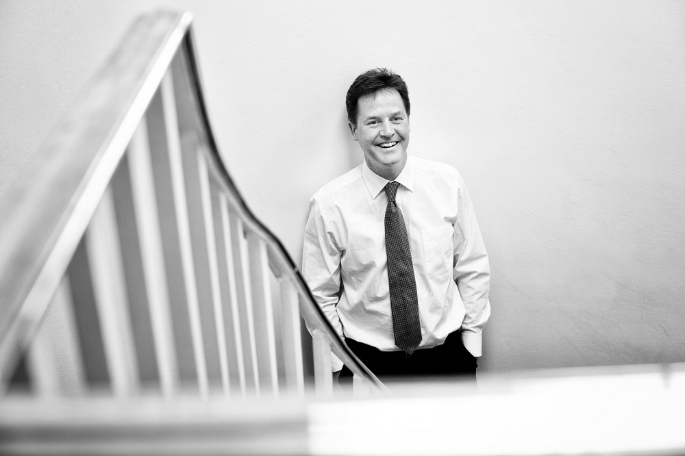 Portrait of a relaxed deputy Prime Minister Nick Clegg