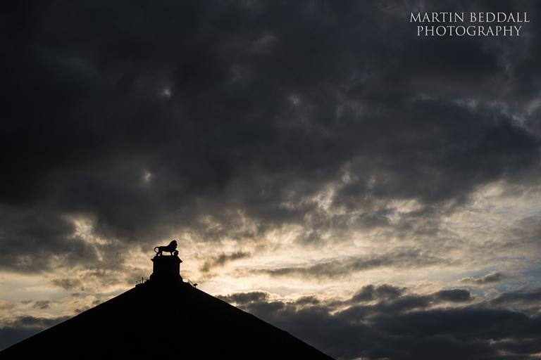 Dawn over the Waterloo battlefield in Belgium