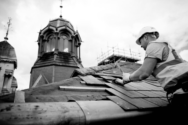 Roof of a Victorian sewage staion being repaired