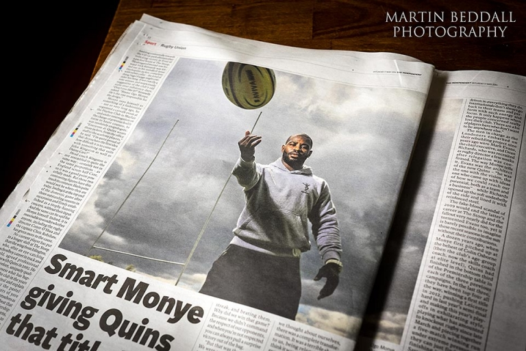Photo of Harlequins rubgy player Ugo Monye commissioned by The Independent newspaper and shot with a Profoto B1 light