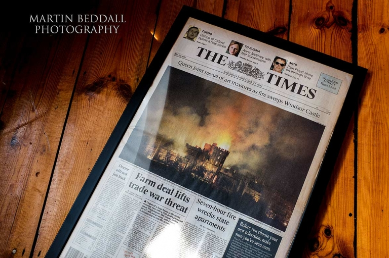 Front cover of The Times with the Windsor Castle fire image