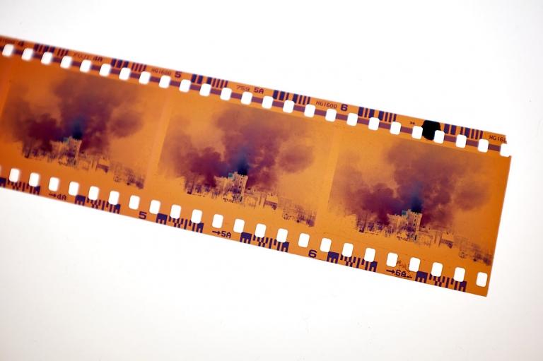 Windsor Castle Fire colour negatives on Fuji 1600 film